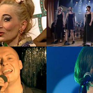Varjoeuroviisujen 1997 esiintyjiä: Liisa Akimof, Ultra Bra, Kalle Ahola, Sami Saari