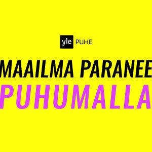 """Keltaisella pohjalla Yle Puhe -tunnus ja teksti: """"Maailma paranee puhumalla"""""""