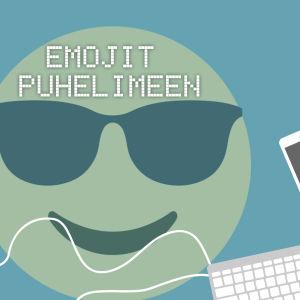 Digitreenien pääkuva. Testi Emojit puhelimeen. Taustakuvassa aurinkolasi-emoji.