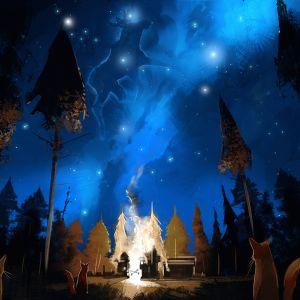 Ketut katselevat yöllä taivaalla lentävää hirveä