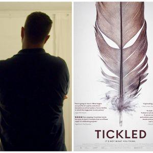 Kooste dokumenttielokuvan Tickled kuvista: elokuvan juliste ja kaksi haastateltua.