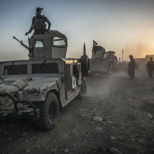 Peshmergasoldater nära Mosul