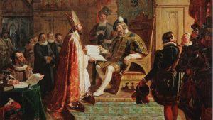Mikael Agricola överlämnar Nya Testamentet till Gustav Vasa.
