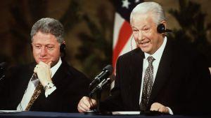 Bill Clinton och Boris Jeltsin på toppmötet i Helsingfors, 1997