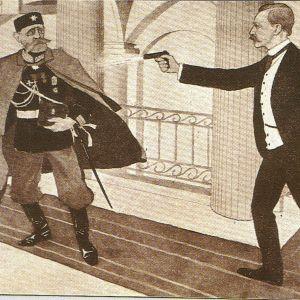 En okänd tecknares version av mordet.