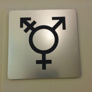En toalettdörr med en skylt som visar att både män, kvinnor och transpersoner är välkomna att använda toaletten.
