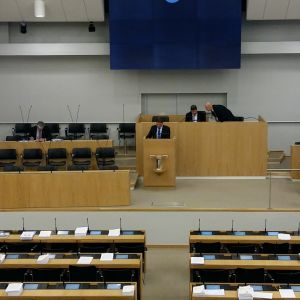 Två personer i riksdagens plenisal.