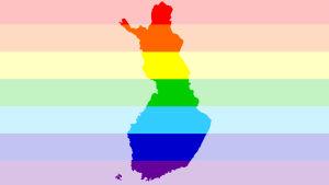 Regnbågsflaggan med Finlands konturer