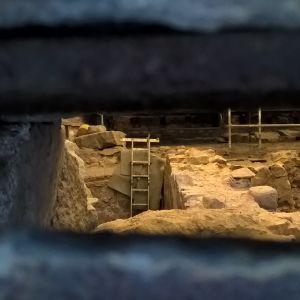 Då man tittar in genom en källarglugg ser man en stege som som rest i medeltida källarvalv.