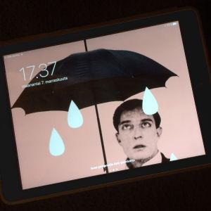 Tablettiin ja puhelimeen on ladattu Teeman elokuvafestivaali -taustakuvat