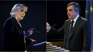 Marine Le Pen och François Fillon.