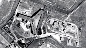 Flygbild över Saydnaya-fängelset, som ligger norr om Damaskus.