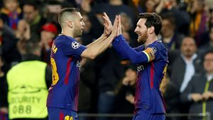 Barcelonas Jordi Alba och Lionel Messi firar mål.