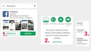 Kuvakaappauksia Google Play -sovelluskaupasta: Näin löydät tuotteen kehittäjän yhteystiedot.