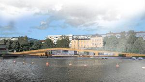 Skiss över Fiskets hus vid Fiskstranden i Vasa.