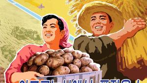 En tecknad bild på ett koreanskt par med ett fat potatis i famnen.