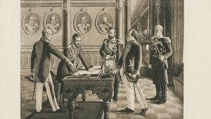 Helmikuun manifesti. Helmikuun manifestin allekirjoitustilaisuus. Konstantin Pobedonostsev, keisari Nikolai II, Aleksei Kuropatkin, Vjatseslav von Pleve (Plehwe) ja Suomen kenraalikuvernööri Nikolai BOBRIKOV. Kuvattu: 1.1.1899
