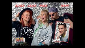 Elina, Laila, Mika ja Rami poseeraavat rokkijulisteessa.