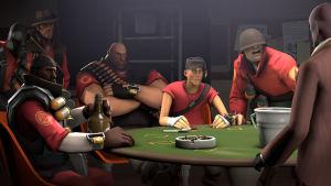 Team Fortress 2 -hahmot pokeripöydän äärellä
