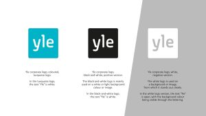 Turquoise, black-and-white and negative Yle logos