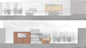 Piirroksessa suunnitelma julkisivuksi Tanssin talosta