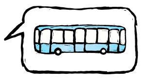 Puhekuplassa piirretty linja-auto