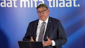 Timo Soini vid en presskonferens i Helsingfors den 29 juni 2016.
