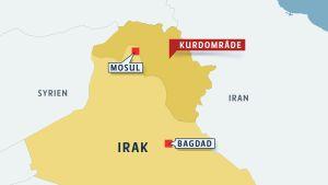 Karta över mosul och Irakiska kurdistan.