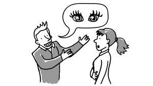 Piirroshahmo ylistää toisen piirroshahmon tähtisilmiä.