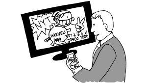 Televisiossa mainos härvelistä, pukumies soittaa tilatakseen.
