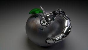 ett silverfärgat äpple invaderas av en robotlik mask