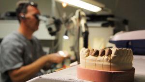 Hammasproteesien valmistusta