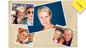 Nina Kiiskinen lastensa kanssa