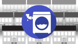 Grafiikka: pyykinpesukonetta esittävä symboli, kerrostaloja.