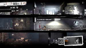 Stillbild från spelet This war of mine där vi ser en genomskärning av ett hus och en liten flicka som står i ett rum och talar med sin pappa.