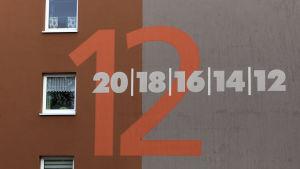 Vägg på bostadshus i Leineberg.
