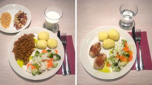 Kasvis-ja liharuoka-annokset. Kummassakin yhtä kattavasti proteiinia