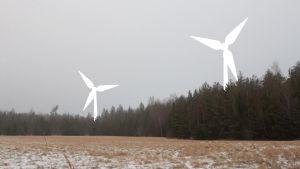 Piirrettyjä tuulimyllyjä metsämaisemassa