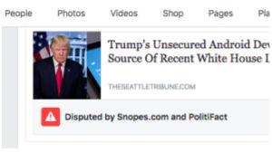 Faktantarkistajien varoituskuvake amerikkalaisella Facebook-sivulla