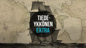 Tiedeykkönen Extra mainoskuva Aikamatkalle podcastille.