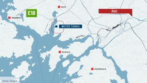 En karta över Åbo som visar att Meyer Turku-området ligger nästan rakt västerut från Åbo centrum.