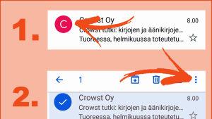Toiminto ilmoita roskapostista puhelimen gmail-sovelluksessa.