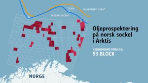 Grafik över norska oljeprospekteringsblock i Berings hav.