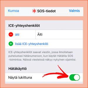 IPhonessa ICE-yhdyshenkilö laitetaan SOS-tietoihin.