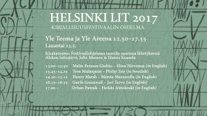Helsinki Lit kirjallisuusfestivaalin lauantain aikataulu