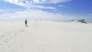 Nainen kävelee aavikolla New Mexicossa.