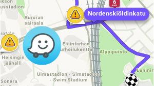 Näkymä Googlen omistamasta Waze-karttasovelluksesta. Wazen logo kuvan päällä.
