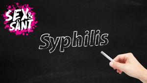 en krittavla som det är skrivet syfilis på med en vit krita
