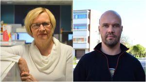 Ett kollage av porträtt av Ulla-Maj Wideroos (till vänster) och Kim Berg (till höger).