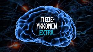 Tiedeykkönen Extra mainoskuva. Animoidut aivot missä lukee Tiedeykkönen Extra.